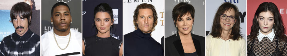 This combination photo of celebrities with birthdays from Nov. 1-7 shows Anthony Kiedis, from left, Nelly, Kendall Jenner, Matthew McConaughey, Kris Jenner, Sally Field and Lorde. (AP Photo)