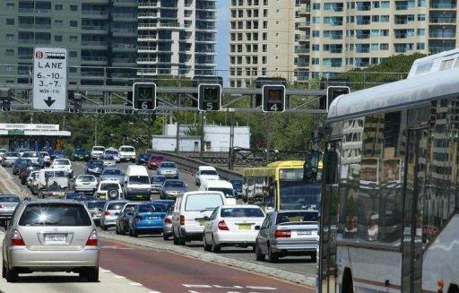 This file photo shows a busy street in central Sydney