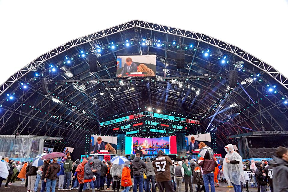 Fans gather for the 2021 NFL draft at First Energy Stadium in Cleveland.