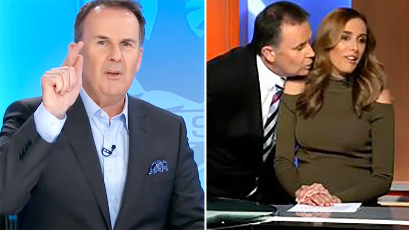 Tony Jones, pictured here explaining what really happened during his awkward kiss fail with Bec Judd.