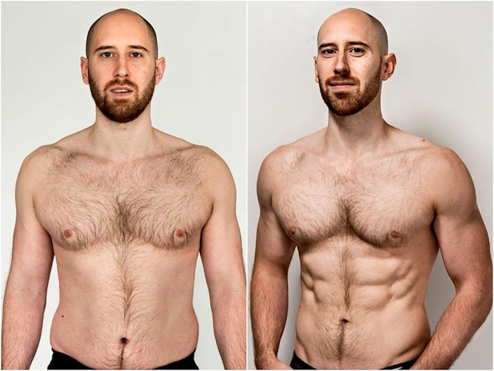 Brendan Jones before and after losing 10 pounds of fat and gaining 2 pounds of muscle.