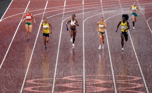 Kadeena Cox (centre) of Great Britain during the Women's 400m – T38 Final at the Olympic Stadium on day eleven of the Tokyo 2020 Paralympic Games in Japan. Picture date: Saturday September 4, 2021