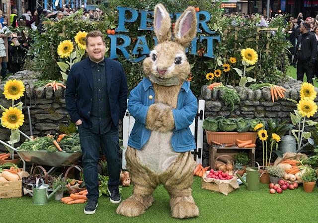 "<p>The ""Carpool Karaoke"" king looked very <em>hoppy, </em>as he posed alongside the star of his new movie <em>Peter Rabbit,</em> at the London premiere on Sunday. (Photo: Samir Hussein/Samir Hussein/WireImage) </p>"