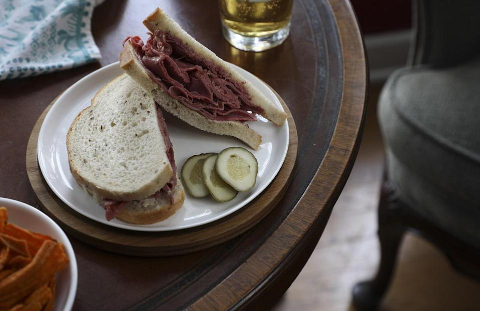 """<p>You can <a href=""""http://www.thedailymeal.com/cook/great-st-paddy-s-day-dishes-aren-t-corned-beef-and-cabbage-0?referrer=yahoo&category=beauty_food&include_utm=1&utm_medium=referral&utm_source=yahoo&utm_campaign=feed"""" rel=""""nofollow noopener"""" target=""""_blank"""" data-ylk=""""slk:make way more with corned beef"""" class=""""link rapid-noclick-resp"""">make way more with corned beef</a> than just corned beef and cabbage. The cured beef is so flavorful that the only other thing you need is some horseradish and black pepper mayonnaise to make the dish really sing.</p> <p><a href=""""https://www.thedailymeal.com/recipes/corned-beef-sandwich-st-patricks-day?referrer=yahoo&category=beauty_food&include_utm=1&utm_medium=referral&utm_source=yahoo&utm_campaign=feed"""" rel=""""nofollow noopener"""" target=""""_blank"""" data-ylk=""""slk:For the Corned Beef Sandwich with Black Pepper Mayo recipe, click here."""" class=""""link rapid-noclick-resp"""">For the Corned Beef Sandwich with Black Pepper Mayo recipe, click here.</a></p>"""