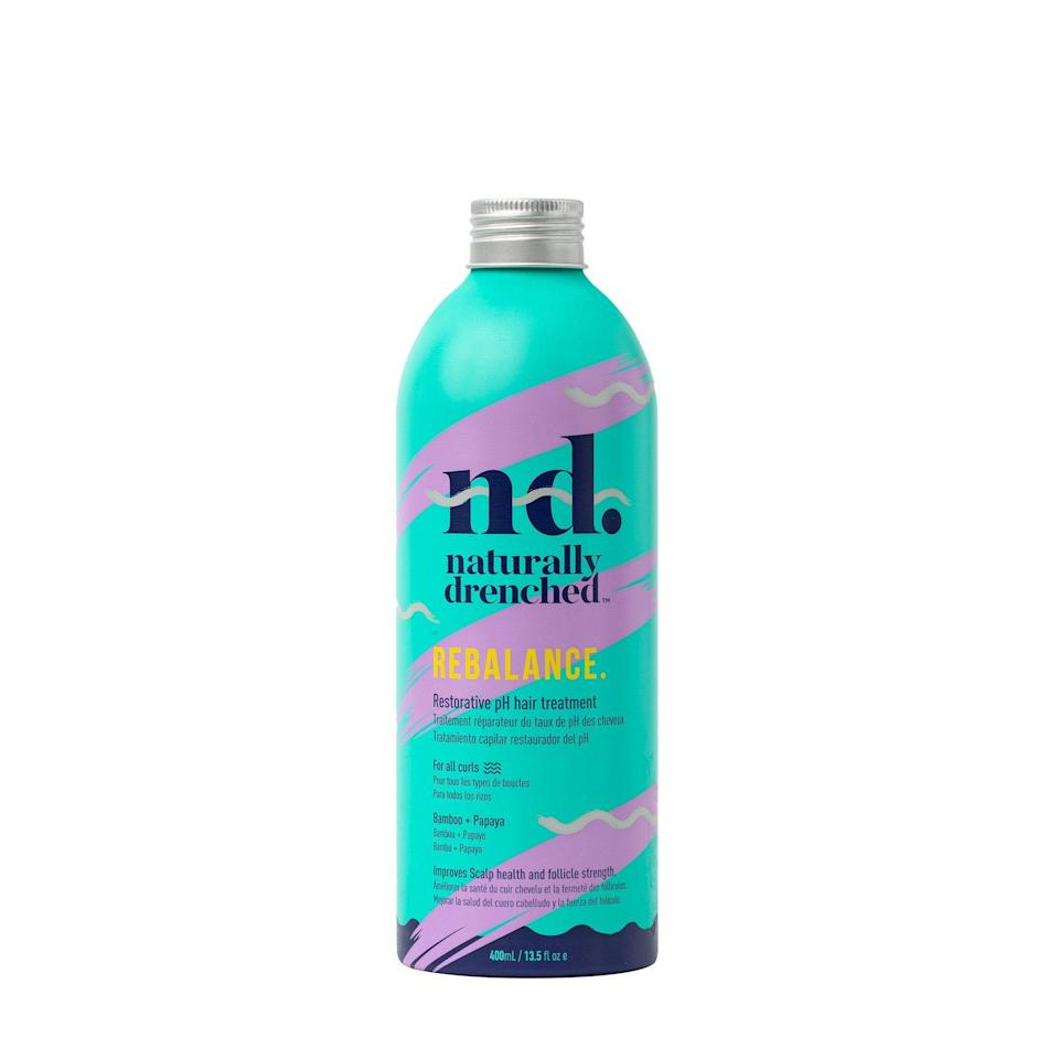 """Consider the Naturally Drenched Rebalance Treatment a luxurious, but much-needed add-on to your post-beach wash routine. Falling somewhere between a <a href=""""https://www.allure.com/gallery/best-hair-masks-under-20?mbid=synd_yahoo_rss"""" rel=""""nofollow noopener"""" target=""""_blank"""" data-ylk=""""slk:deep conditioner"""" class=""""link rapid-noclick-resp"""">deep conditioner</a> and a pre-poo, this pre-conditioner treatment is a reset for your hair and scalp — especially after exposure to sun and salt water. Before conditioning, work this treatment through from roots to ends and let the nourishing almond and bamboo oils get to work strengthening and restoring your natural hair install."""