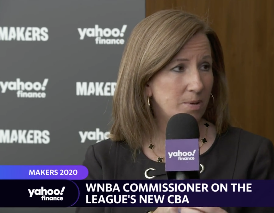 WNBA Commissioner Cathy Engelbert. (Source: Yahoo Finance)