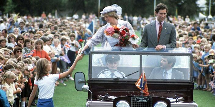 <p>The princess greets a well-wisher during a ride at the Hands Oval sportsground in Bunbury, Australia.</p>