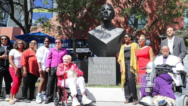 A statue of Althea Gibson as unveiled at the US Open. (Image: @WTA)