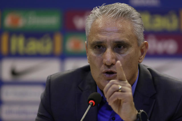 Brazil's soccer team coach Tite announces his list of players for the 2018 Soccer World Cup in Russia at a news conference in Rio de Janeiro, Brazil, Monday, May 14, 2018. (AP Photo/Leo Correa)