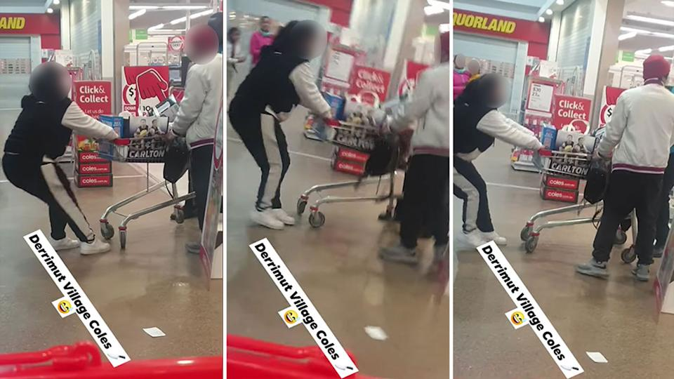 A scuffle between a Coles customer and a security guard was filmed at Derrimut Village in Victoria. Source: Facebook