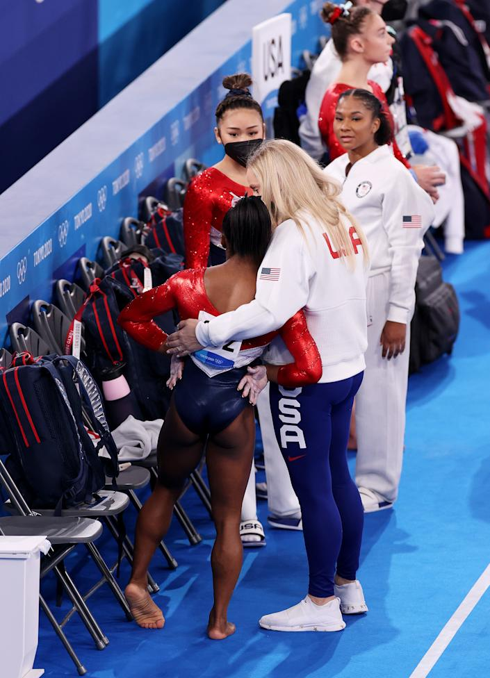 <p>TOKYO, JAPAN - JULY 27: Simone Biles of Team United States during the Women's Team Final on day four of the Tokyo 2020 Olympic Games at Ariake Gymnastics Centre on July 27, 2021 in Tokyo, Japan. (Photo by Jamie Squire/Getty Images)</p>