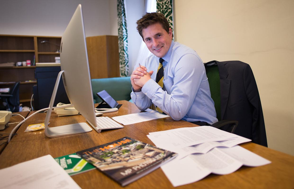 Plymouth MP Johnny Mercer at his office at the Houses of Parliament in London before making his first speech to the House of Commons.