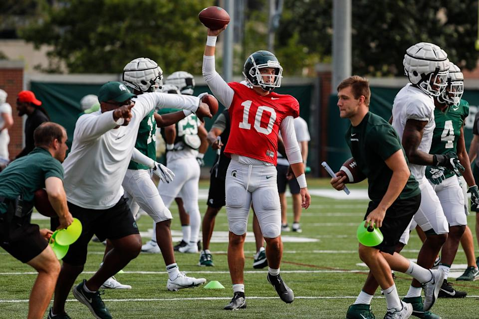 Michigan State quarterback Payton Thorne (10) practices at the team's facility Wednesday, Aug. 11, 2021 in East Lansing.