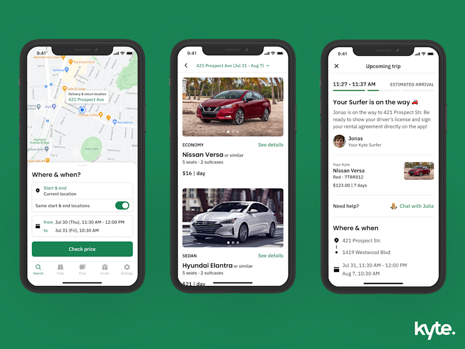 Kyte car rental app
