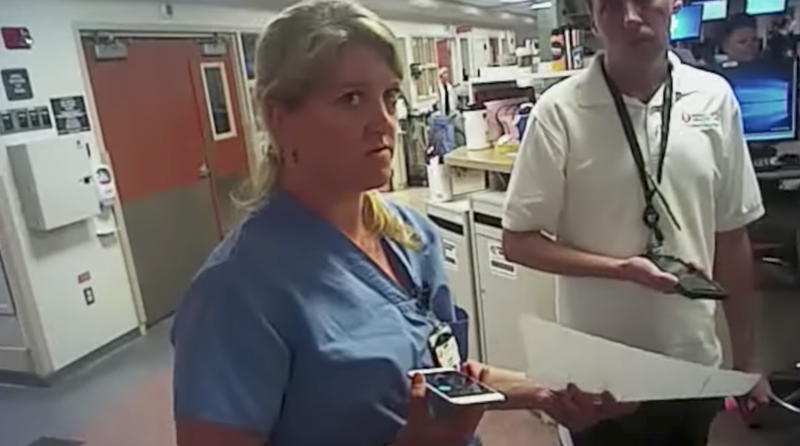 Nurse Alex Wubbels, just before her arrest by Detective Jeff Payne. (YouTube)