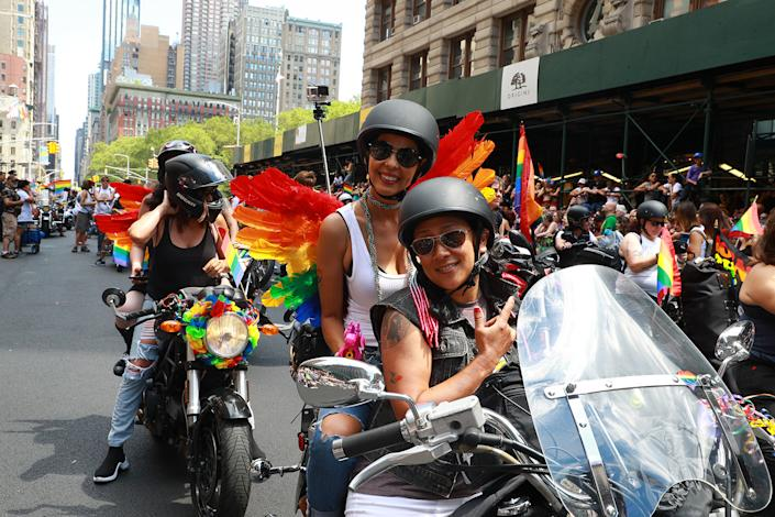 Women ride motorcycles during the N.Y.C. Pride Parade in New York on June 30, 2019. (Photo: Gordon Donovan/Yahoo News)