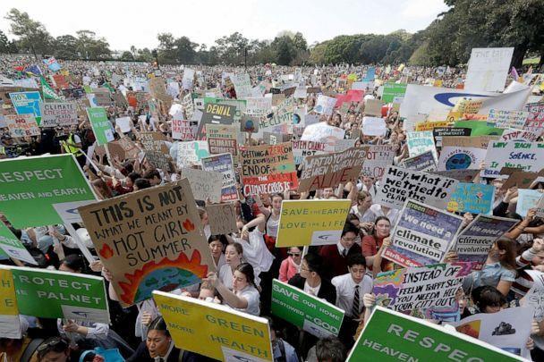 PHOTO: Thousands of protestors, many of them school students, gather in Sydney, Friday, Sept. 20, 2019, calling for action to guard against climate change. (Rick Rycroft/AP)