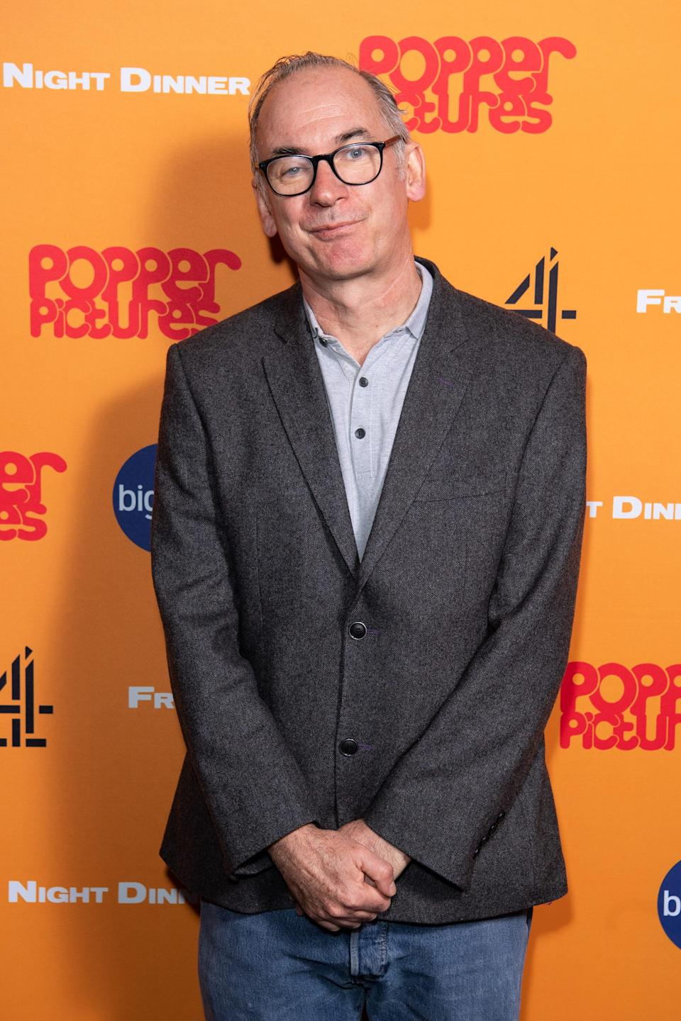 """Paul Ritter attends the """"Friday Night Dinner"""" photocall at Curzon Soho on March 9, 2020, in London."""