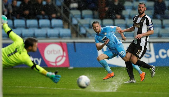 "Soccer Football - League Two Play Off Semi Final First Leg - Coventry City v Notts County - Ricoh Arena, Coventry, Britain - May 12, 2018 Coventry's Marc McNulty shoots at goal Action Images/Andrew Boyers EDITORIAL USE ONLY. No use with unauthorized audio, video, data, fixture lists, club/league logos or ""live"" services. Online in-match use limited to 75 images, no video emulation. No use in betting, games or single club/league/player publications. Please contact your account representative for further details."
