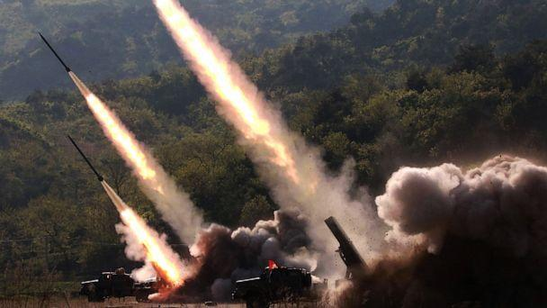 PHOTO: This May 9, 2019 picture released from North Korea's official Korean Central News Agency (KCNA) on May 10, 2019 shows rocket launchers firing during the strike drill in on the western front of North Korea. (Kcna via Kns/AFP/Getty Images, FILE)