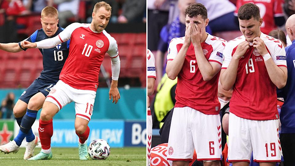 Eriksen's teammates can be seen here crying after his collapse.