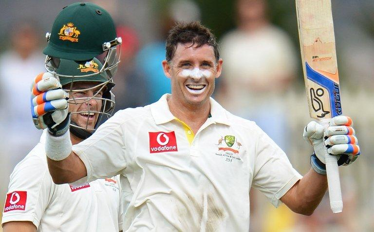 Mike Hussey celebrates his century against Sri Lanka on during a Test match in Hobart on December 15, 2012