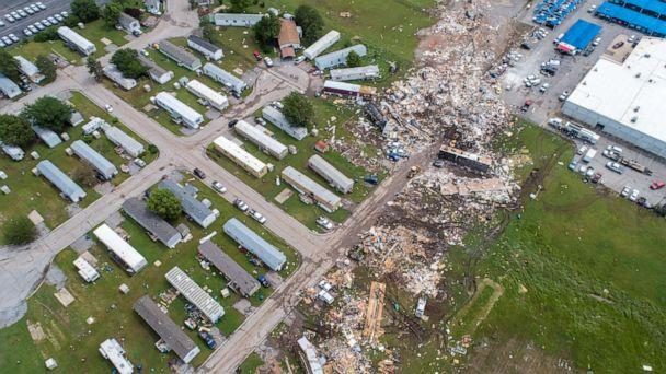 PHOTO:A path of destruction through the Skyview Mobile Park Estates is seen in an aerial photo, May 26, 2019, after it was hit by a tornado in El Reno, Okla. (Richard Rowe/Reuters)