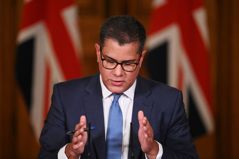 Britain's Business Secretary Alok Sharma speaks during a virtual news conference on COVID-19 at 10 Downing Street, in London