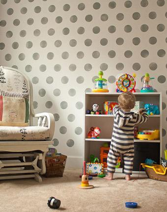 """<div class=""""caption-credit""""> Photo by: Making the World Cuter</div><div class=""""caption-title"""">Gray Polka Dots</div>I love the more masculine look of this wall of soft gray polka dots. It's perfect for a little boy's room or even a living room with a modern feel. <br> <b><i><a href=""""http://www.babble.com/home/kiss-the-clutter-goodbye-with-pegboard/?cmp=ELP bbl lp YahooShine Main  011413  seeingspots10awesomepolkadotwalls famE   """" rel=""""nofollow noopener"""" target=""""_blank"""" data-ylk=""""slk:Related: 13 clever ways to organize with pegboards"""" class=""""link rapid-noclick-resp"""">Related: 13 clever ways to organize with pegboards</a></i></b>"""