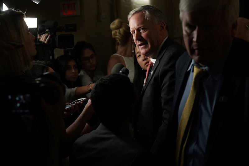 Rep. Mark Meadows (R-N.C.), chairman of the conservative House Freedom Caucus, speaks to reporters about immigration Wednesday at the U.S. Capitol. (Alex Wong via Getty Images)