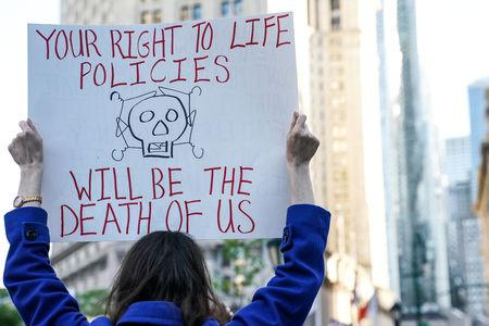 Abortion-rights campaigners attend a rally in New York