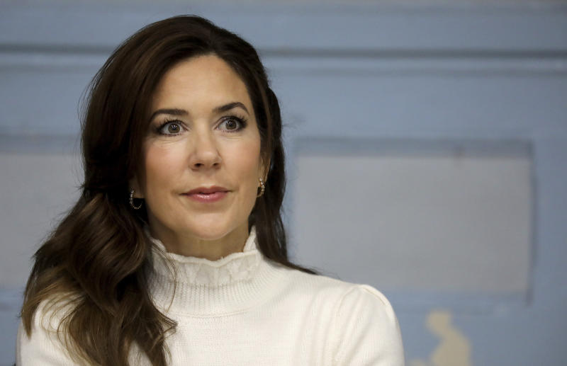 Crown Princess Mary of Denmark is pictured at the high school Lamartine, in Paris, Tuesday, Oct. 9, 2019. (Ludovic Marin, Pool via AP)