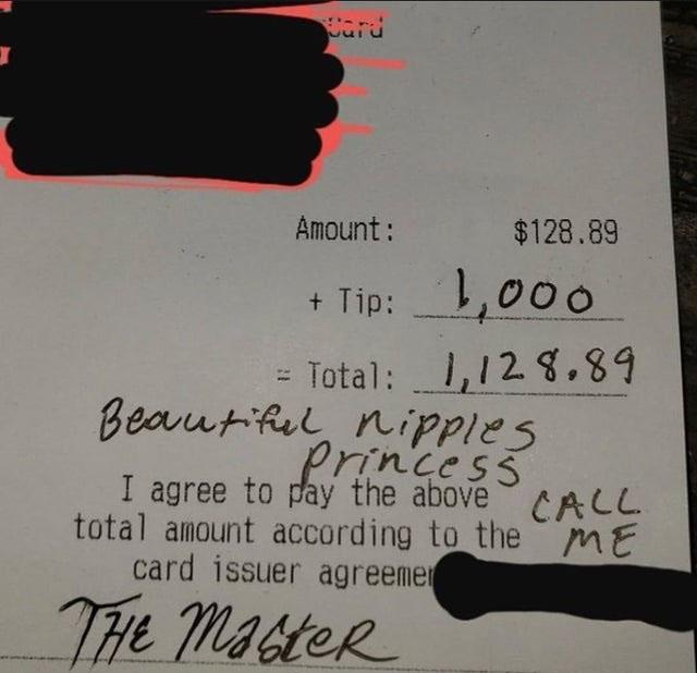 receipt tip with creepy message