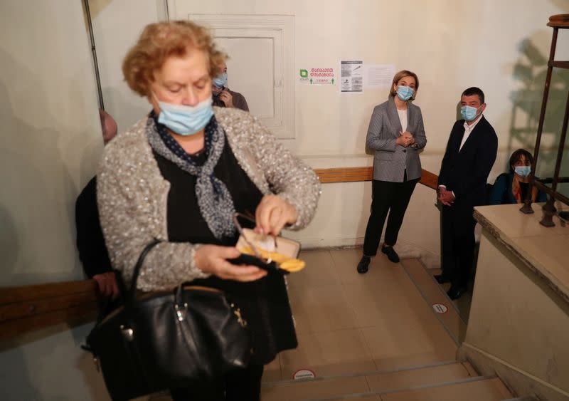 Georgia's Prime Minister Gakharia visits a polling station during a parliamentary election in Tbilisi