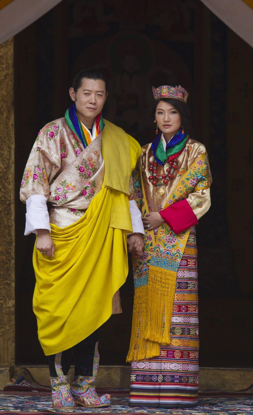 <p>One of Queen Jetsun Pema's most notable outfits was her wedding attire. The look included an elaborate gown with a gold shawl and jacket. Of course, no Queen's outfit is complete without an impressive tiara. </p>