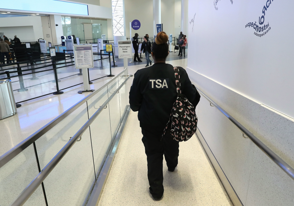 More TSA agents skip work as opposed to showing up without pay. Here TSA employee Demika Thornton reports to work where she is not being paid due to the partial shutdown of the U.S. government, at Baltimore Washington International Thurgood Marshall Airport, on January 14, 2019 in Baltimore, Maryland. (Photo by Mark Wilson/Getty Images)