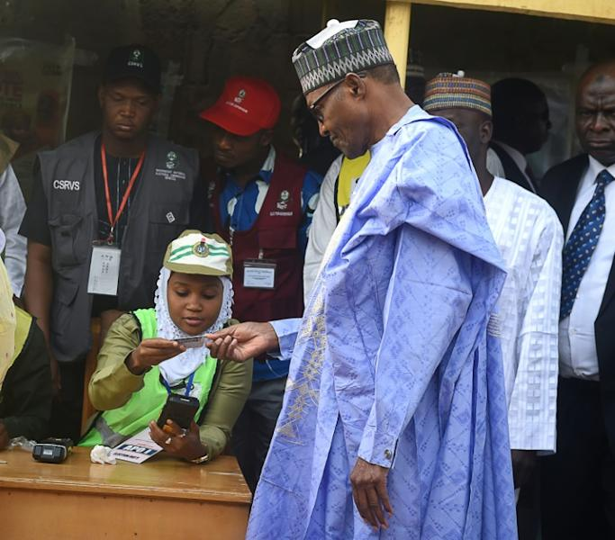 President Muhammadu Buhari was one of the first to vote, and emerged from the polling booth in his home town of Daura, in the northwest state of Katsina, to say he was confident of victory