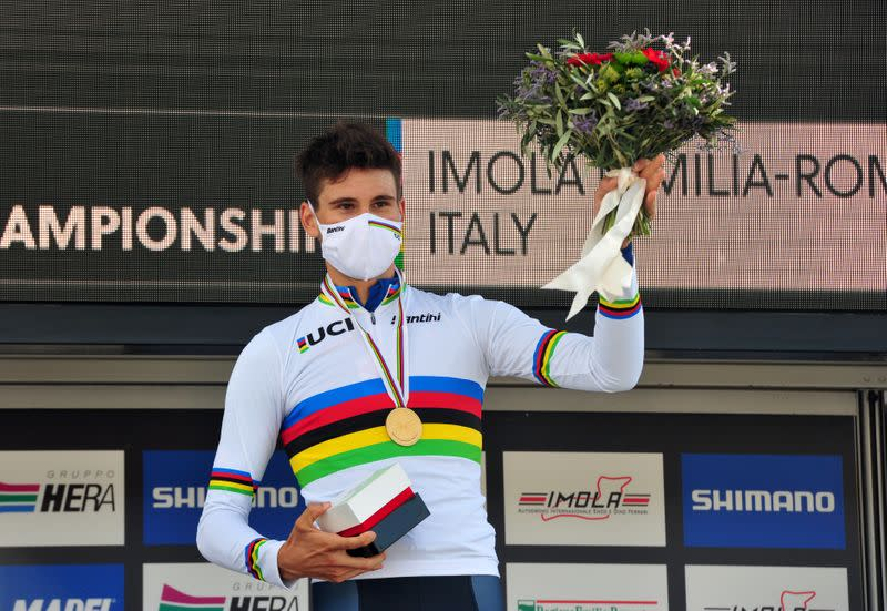Italian Ganna wins time trial world title on home soil