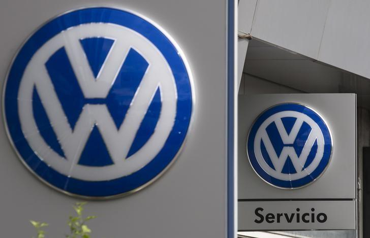 Volkswagen logos are seen at a dealership in Madrid