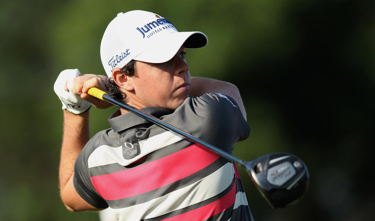 DUBLIN, OH - MAY 31:  Rory McIlroy of Northern Ireland watches his tee shot on the tenth hole during the first round of the Memorial Tournament presented by Nationwide Insurance at Muirfield Village Golf Club on May 31, 2012 in Dublin, Ohio.  (Photo by Scott Halleran/Getty Images)