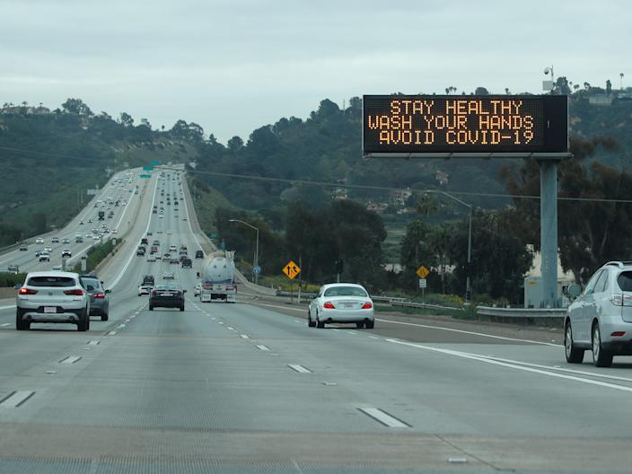 The normally busy I-5 freeway in La Jolla, California, on March 16, 2020.