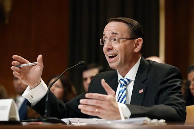 "WASHINGTON — Deputy Attorney General Rod Rosenstein testified Tuesday that he would fire the special counsel in the Russia investigation only if he had ""good cause"" to do so. (Photo: Alex Brandon/AP)"