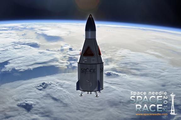 An artist's depiction of a suborbital spaceflight offered by Space Adventures aboard an Armadillo Aerospace Vehicle. Seattle's Space Needle is offering a free trip on the spaceship as part of its Space Race 2012 contest.