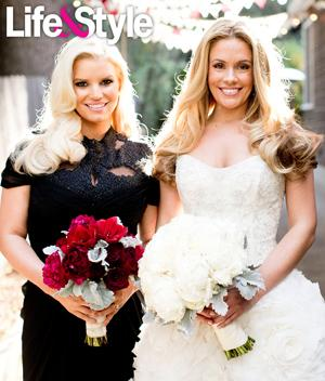 Jessica Simpson Hides Baby Bump With Bouquet At Bff S Wedding