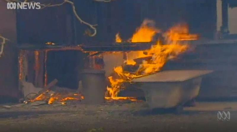 A fire burns through a home in Rappville, NSW. The blaze may have been deliberately lit.
