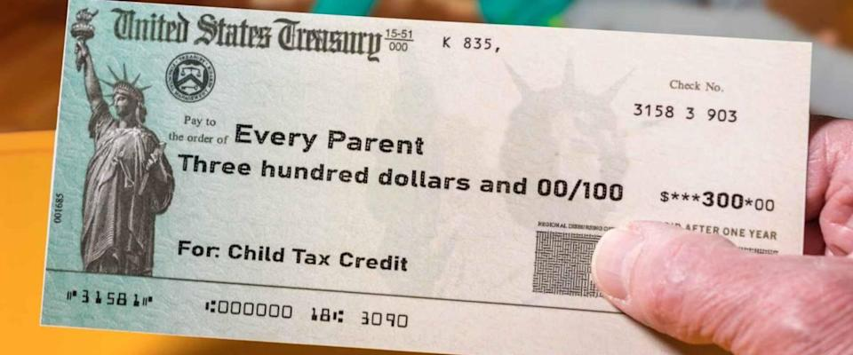 Mockup of US Treasury illustrative check for child tax credit for a small girl to illustrate American Rescue Plan Act of 2021 payments