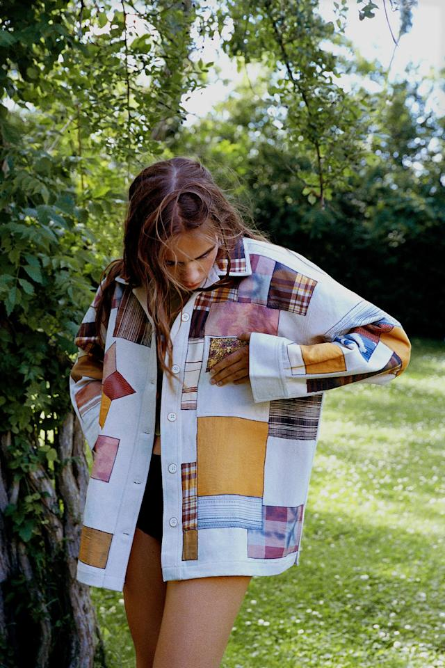 """<p>Paired with jeans and a t-shirt, this <a href=""""https://www.popsugar.com/buy/Kimchi-Blue-Patchwork-Chore-Jacket-477687?p_name=Kimchi%20Blue%20Patchwork%20Chore%20Jacket&retailer=urbanoutfitters.com&pid=477687&price=129&evar1=fab%3Aus&evar9=46478627&evar98=https%3A%2F%2Fwww.popsugar.com%2Fphoto-gallery%2F46478627%2Fimage%2F46478636%2FKimchi-Blue-Patchwork-Chore-Jacket&list1=shopping%2Curban%20outfitters%2Csummer%20fashion%2Cunisex&prop13=api&pdata=1"""" rel=""""nofollow"""" data-shoppable-link=""""1"""" target=""""_blank"""" class=""""ga-track"""" data-ga-category=""""Related"""" data-ga-label=""""https://www.urbanoutfitters.com/shop/kimchi-blue-patchwork-chore-jacket?category=womens-clothing&amp;color=095"""" data-ga-action=""""In-Line Links"""">Kimchi Blue Patchwork Chore Jacket</a> ($129) makes a statement.</p>"""