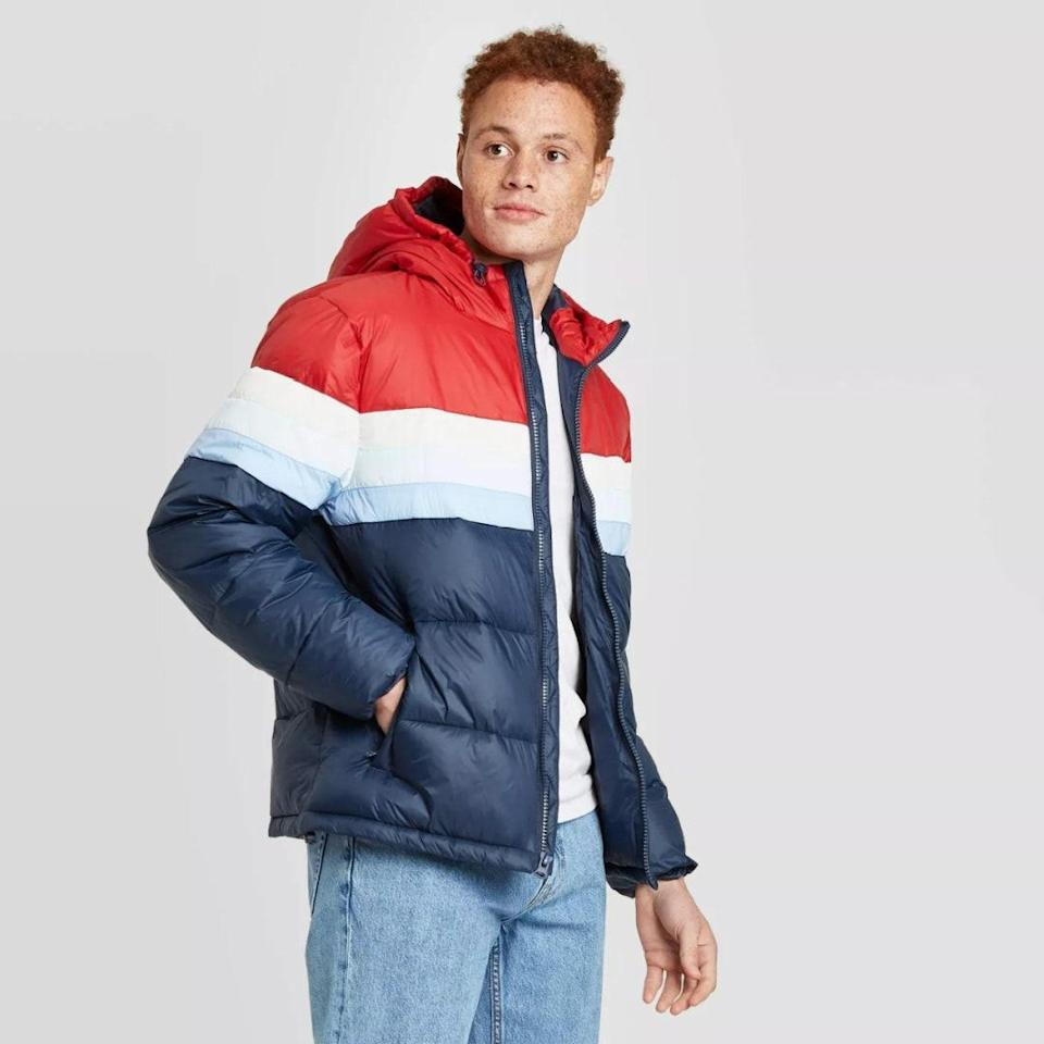 "Gift this vintage-inspired, lightweight puffer to the guy who a maverick at cold-weather layering. $28, Target. <a href=""https://www.target.com/p/men-s-hooded-puffer-jacket-goodfellow-co/-/A-80254558?preselect=79971767"" rel=""nofollow noopener"" target=""_blank"" data-ylk=""slk:Get it now!"" class=""link rapid-noclick-resp"">Get it now!</a>"