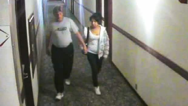 In a court exhibit previously shown, Bradley Barton and Cindy Gladue are captured on surveillance camera leaving Barton's hotel room on the first of two nights they spent together.