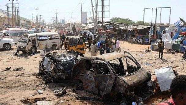 PHOTO: A general view shows the scene of a car bomb explosion at a checkpoint in Mogadishu, Somalia, December 28, 2019. (Feisal Omar / Reuters)